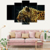 Roaring Tiger 5 Piece Canvas Wall Frame