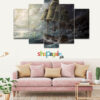 Sea Sail Drawing Art Storm 5 Piece HD Wall Frame
