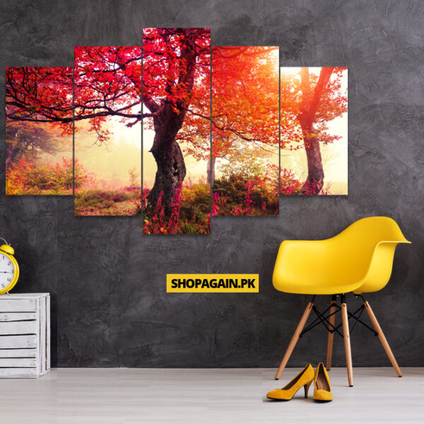 Beautiful Red Autumn Tree 5 Piece Wall Frame